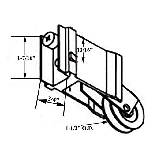 10133 2 in  nylon wheel wallace patio door roller