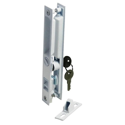 445w white plated patio door lock with key barton