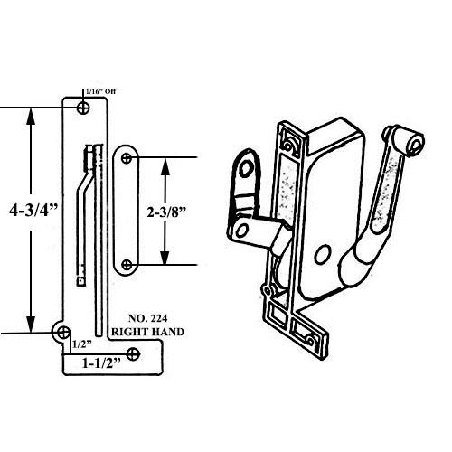 224 8 in  silver right hand window operator for miami window company